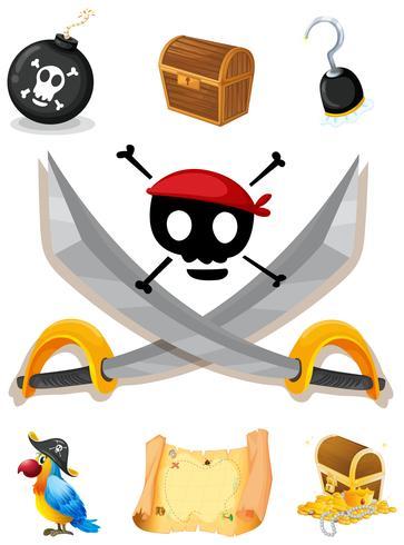 Piraatelementen met wapens en kaart