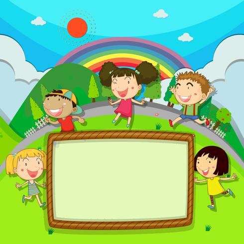 Frame design with children in the park