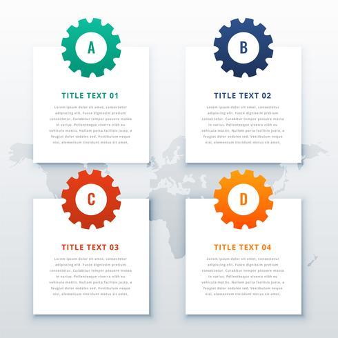 Fondo de infografía de engranajes con cuatro pasos.