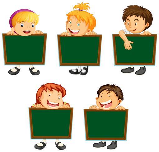 Feliz, crianças, segurando, verde, tábuas vetor