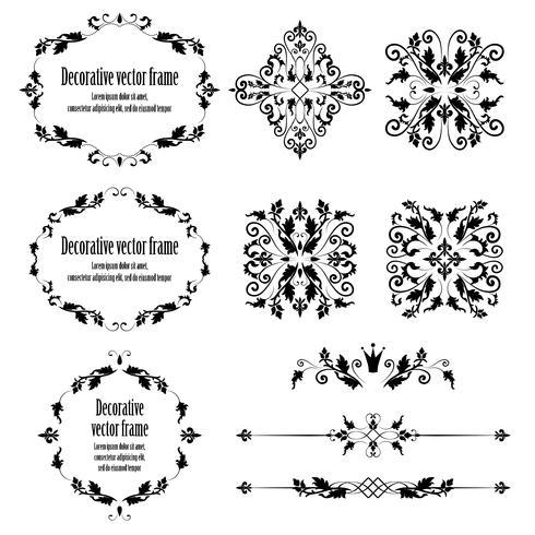 Floral design elements set, ornamental vintage objects