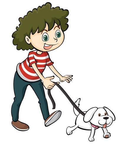 Ein lächelnder Junge und ein Hund