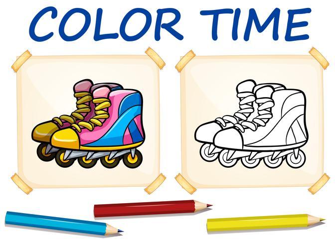 Kleurplaat met rolschaatsen