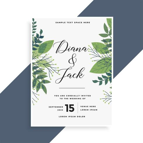 beautiful green leaves wedding invitation card design