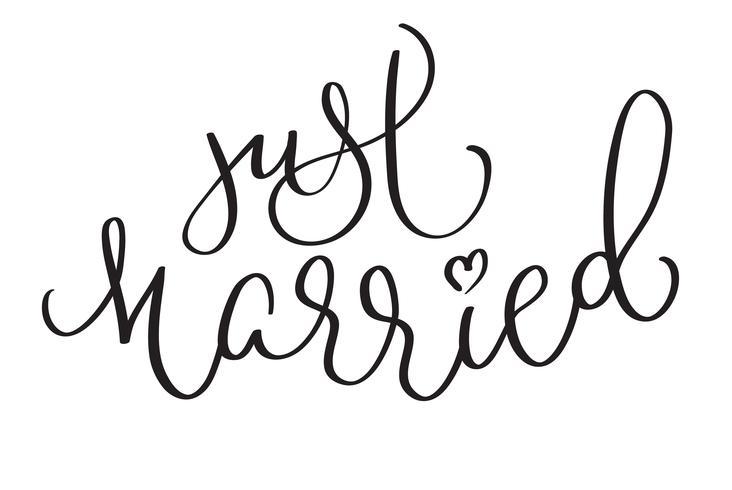 Just Married mots sur fond blanc. Lettrage de calligraphie dessiné à la main illustration vectorielle EPS10