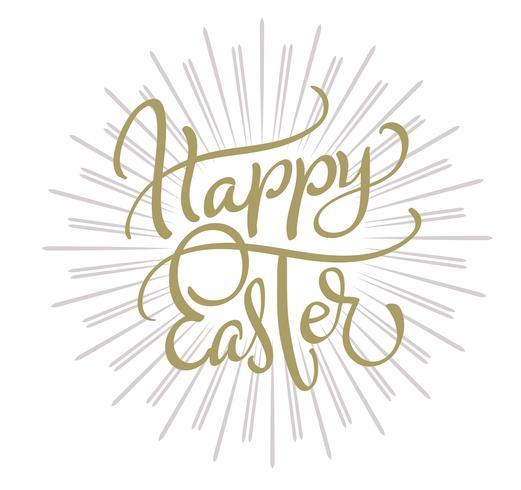 vektor lycklig påsk text på vit bakgrund. Kalligrafi bokstäver Vektor illustration EPS10