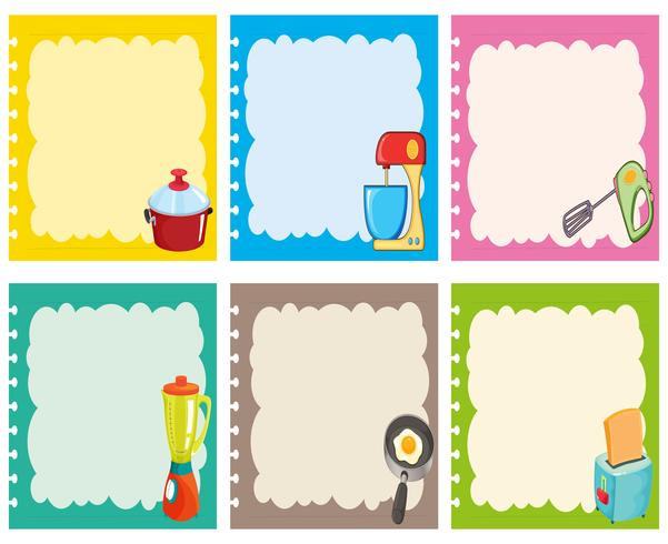 Etikettendesign mit Küchenausstattung