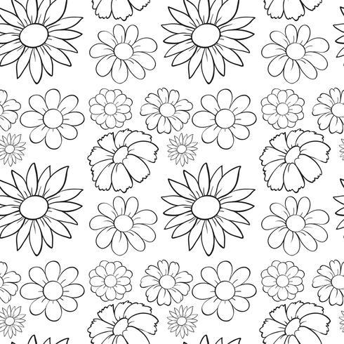 Sömlösa blommor i utkast vektor