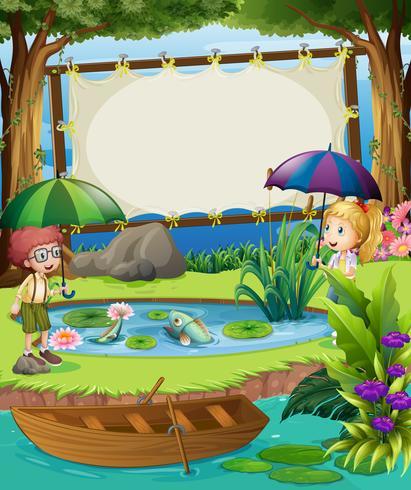 Bannermalplaatje met kinderen bij de vijver