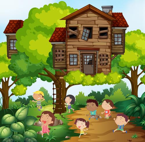 Children and treehouse in the park