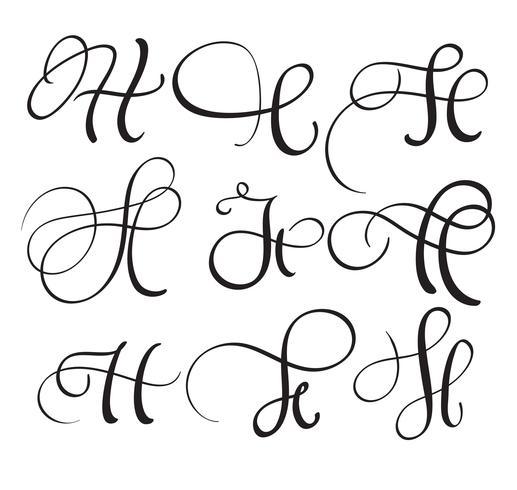 set van kunst kalligrafie letter H met bloeien van vintage decoratieve slierten. Vector illustratie EPS10