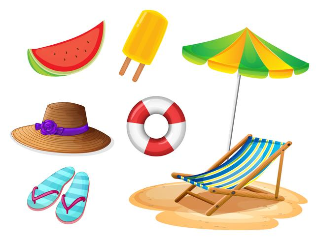Summer foods and things vector