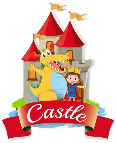 Príncipe y dragón en el castillo