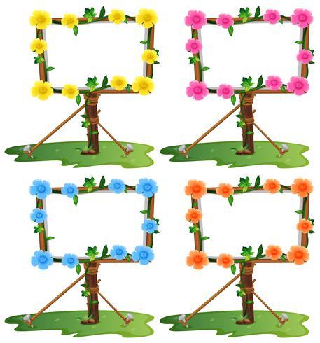 Plantilla de marco con flores de colores