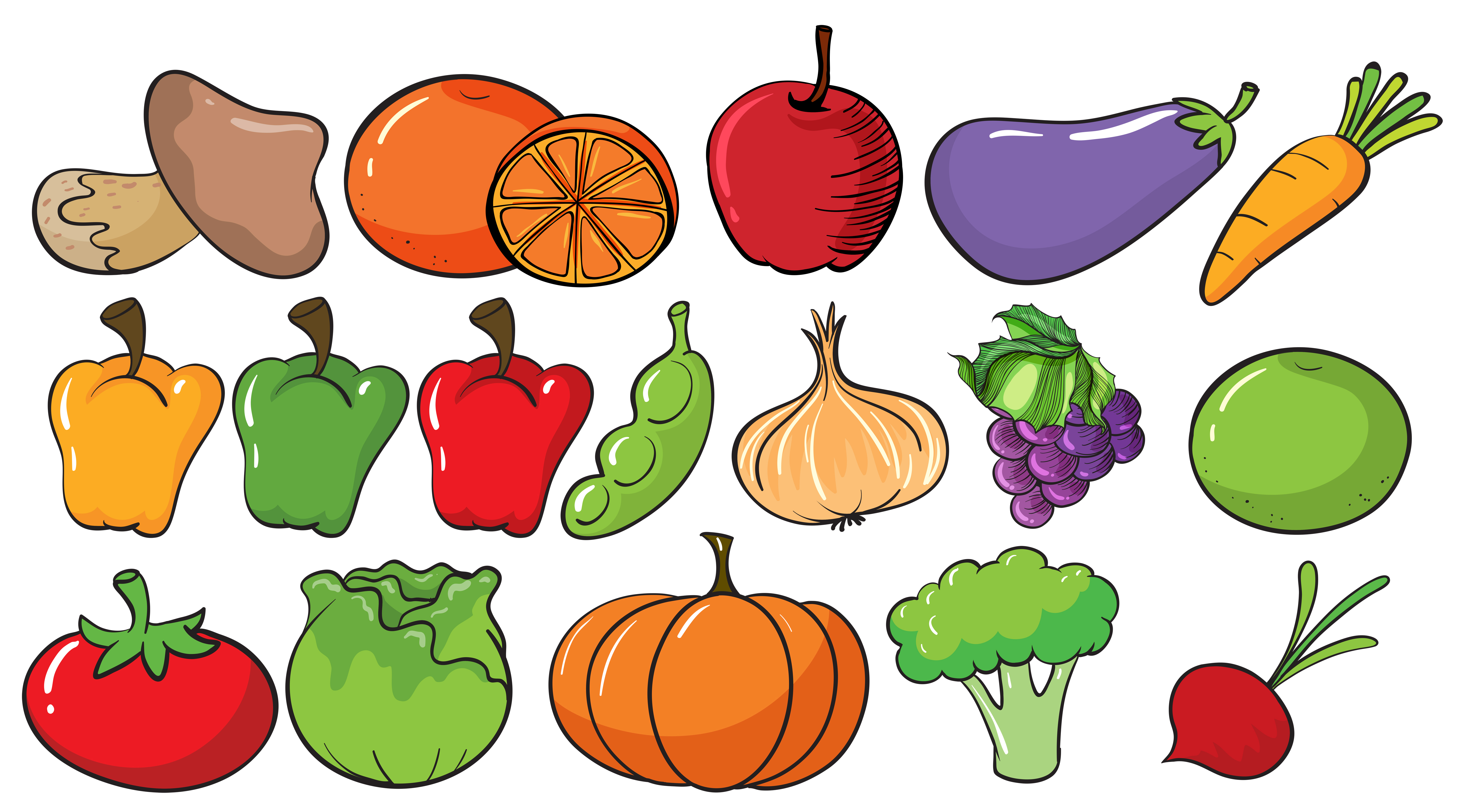 Different types of fruits and vegetables - Download Free ...