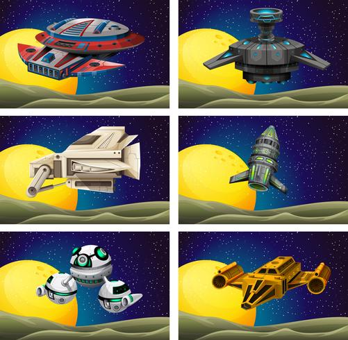 Different design of spaceship in the space