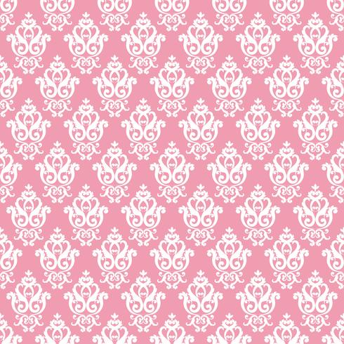 Modello damascato senza soluzione di continuità. Trama rosa in stile reale ricco d'epoca vettore