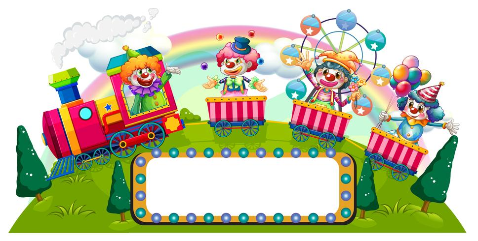 Clown in sella al treno