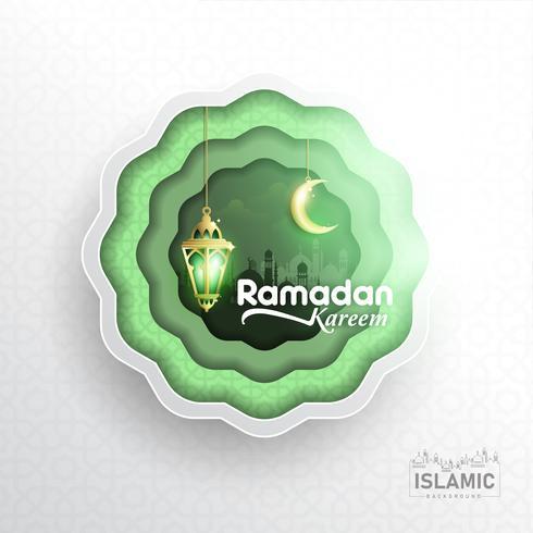 Ramadan Kareem Sfondo carta arte o carta tagliata stile con lanterna Fanoos, Crescent moon & Mosque Background. Per banner Web, biglietti di auguri e modello di promozione in Ramadan Holidays 2019. vettore