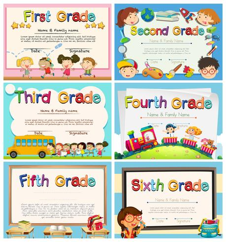 Certifikat för barn i grundskolan vektor