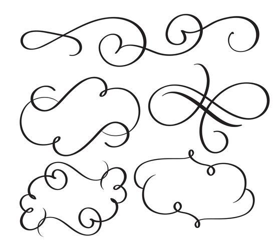 arte caligrafia florescer de whorls decorativos vintage para o projeto. Ilustração vetorial EPS10
