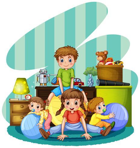 Vier kinderen spelen in de kamer