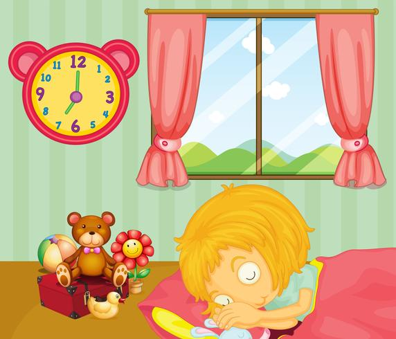 A young girl sleeping soundly in her bedroom vector