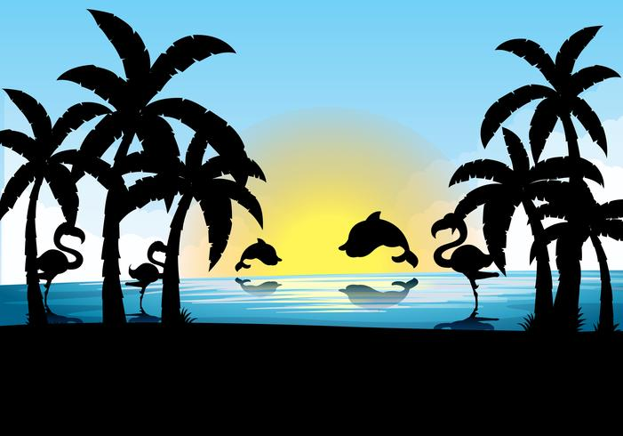 Silhouette scene with dolphin and flamingo at sunset vector