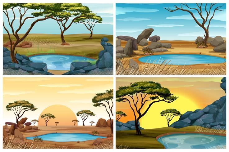 Cuatro escenas de campo de sabana con pozo de agua.
