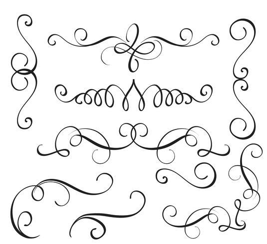 conjunto arte caligrafia florescer de whorls decorativos vintage para o projeto. Ilustração vetorial EPS10