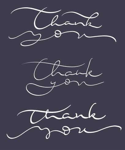 uppsättning tacka dig text på mörk bakgrund. Kalligrafi bokstäver Vektor illustration EPS10