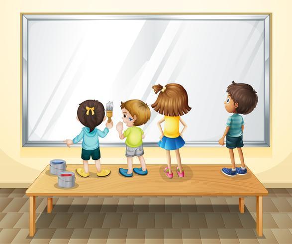 Kinderen die op het whiteboard schilderen