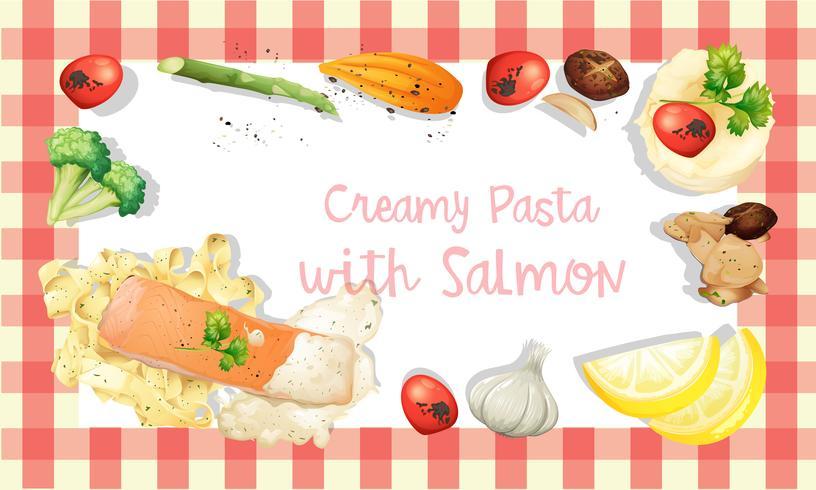 Zalm en pasta crème saus sjabloon