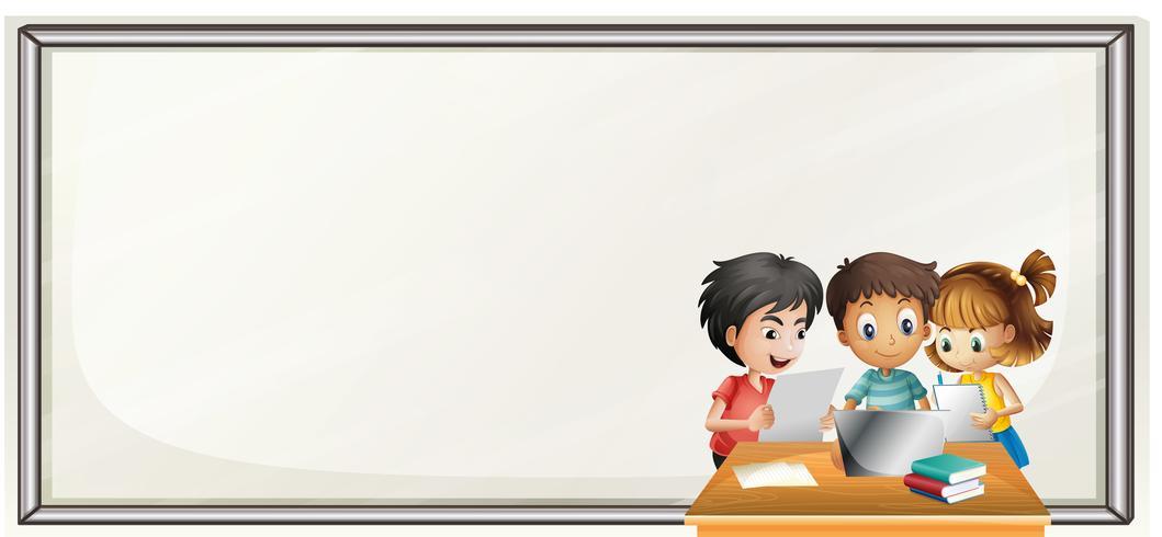 Modèle de frontière avec les enfants à faire leurs devoirs