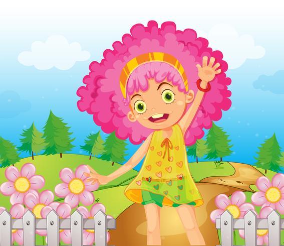 Um, menina sorridente, com, cabelo vermelho
