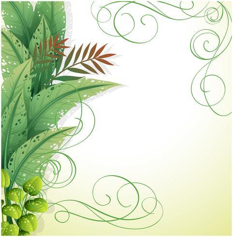 Un papel blanco con plantas verdes. vector