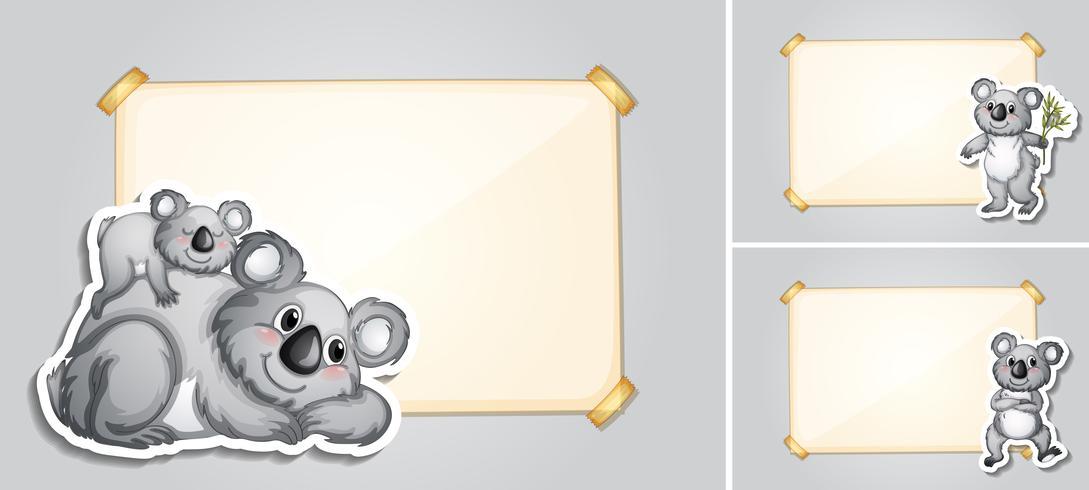 Three border templates with koala bears