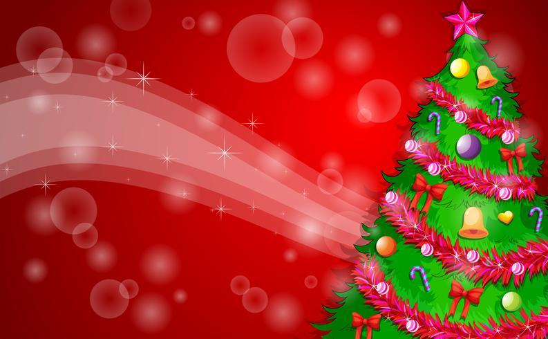 Eine rote Weihnachtsauslegung mit einem grünen Weihnachtsbaum