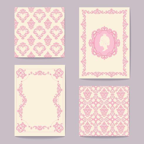 Legen Sie Sammlungen von Karten Vintage-Design-Elemente. Muster, Frames