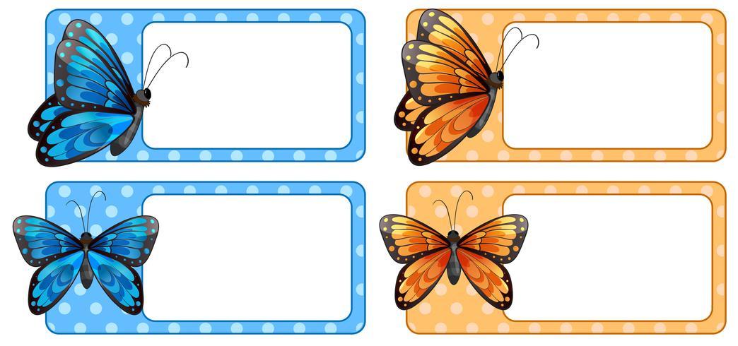 Vierkant etiket met kleurrijke vlinders