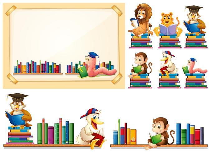 Marco de papel y muchos animales leyendo libros.