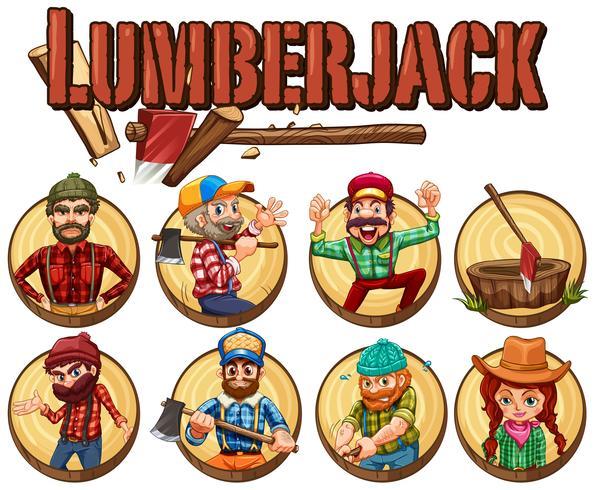 Lumber jack set på runda märken