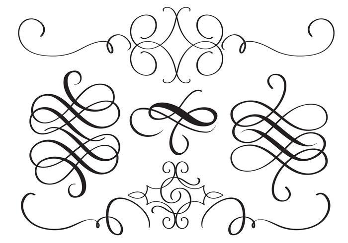 Arte caligrafía florece de verticilos decorativos para el diseño. Ilustración vectorial eps10