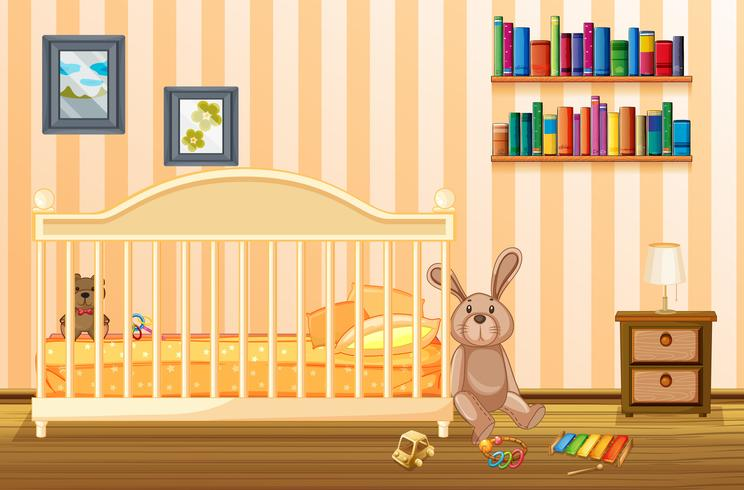 Bedroom scene with babycot and kid items
