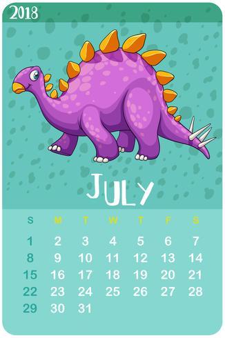 Plantilla de calendario para julio con stegosaurus.