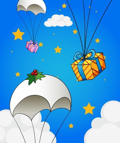 Drie parachutes met geschenken