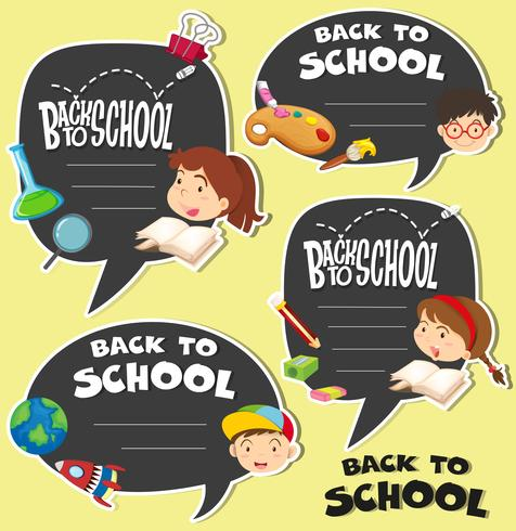 Back to school sign with children vector