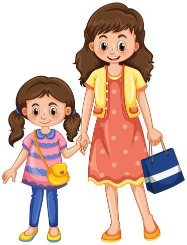 Tenersi per mano della figlia e della madre