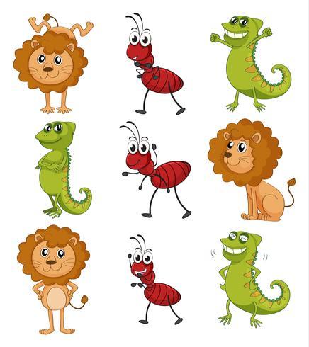 Um leão, um camaleão e uma formiga
