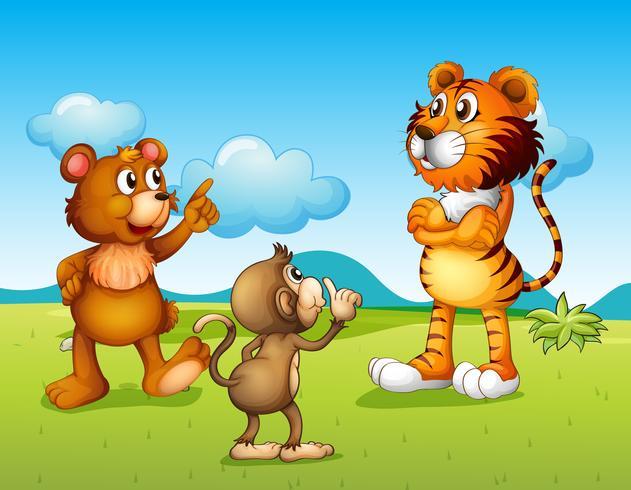 Um tigre, um macaco e um rato vetor